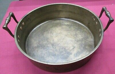 """Large Antique Solid Brass Jam Pan with Brass Handles-13"""""""