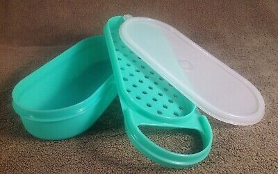 Tupperware 3 Piece Green Handy Grater #1374, Container #1375, Sheer Lid #1376