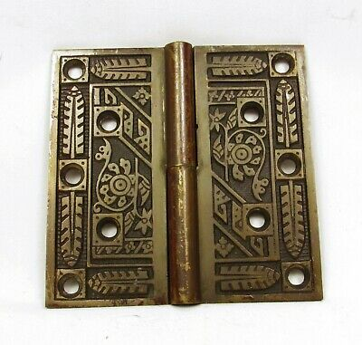 Antique Door Hinge Art Nouveau Ornate Solid Brass Salvage Hardware (A)