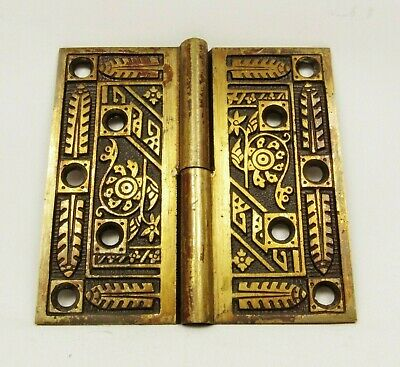 Antique Door Hinge Art Nouveau Ornate Solid Brass Salvage Hardware (B)