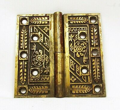 Antique Door Hinge Art Nouveau Ornate Solid Brass Salvage Hardware (C)