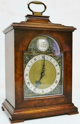 Vintage Small English Bracket Clock 8 Day Walnut Timepiece Mantel Carriage Clock