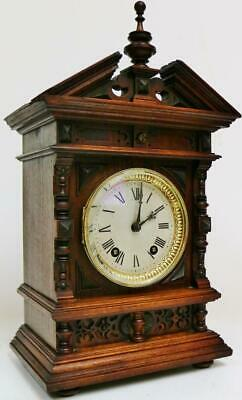 Antique Lenzkirch 8 Day Carved Oak Architectural Gong Striking Bracket Clock