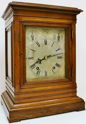 Antique W & H 8 Day 1/4 Striking Musical Ting Tang Chiming Library Bracket Clock