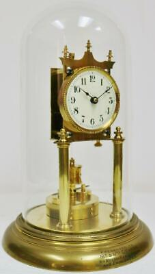 Antique German 400 Day Anniversary Torsion Mantel Clock Original, Glass Dome