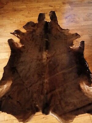 Large Cow Hide Rug - Real Hide Leather - Brown - Good Condition 5' x 7'