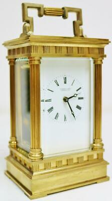 Vintage English 8 Day Timepiece Brass & Glass Carriage Clock Platform Escapement