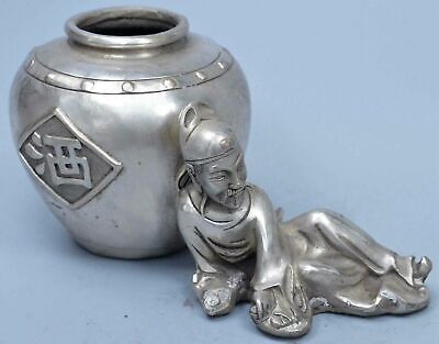 Collectable China Handwork Miao SIlver Carve Drinking Poet Sleep Lucky Statue