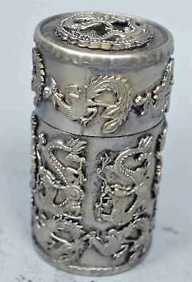 China Collectable Handwork Miao SIlver Carve Dragon Phoenix Lucky Toothpick Box