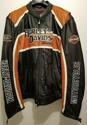 Men's Harley Davidson Classic Cruiser Orange Stripe Biker Leather Jacket 3XLT