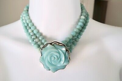 Ancient Echos Vintage Carved Amazonite Sterling Silver Beaded Statement Necklace