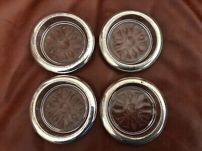 4 Vintage Crystal / Sterling Coasters , Excellent condition