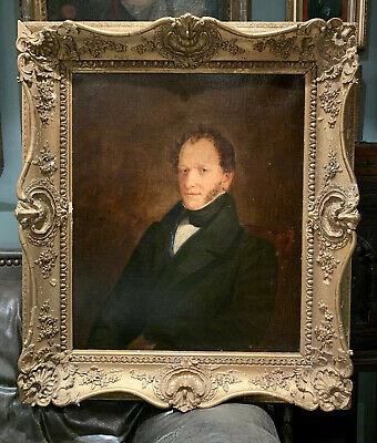 Large Antique 19th Century Oil Portrait Painting Of A Man