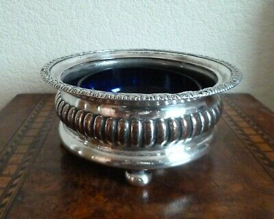 Gorgeous Antique Silver Plated Wine Bottle Coaster With Blue Glass Liner