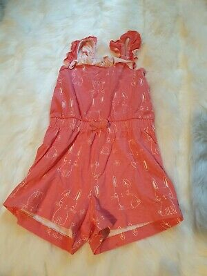 girls 12-18 months bunny dungarees shorts jumpsuit playsuit romper frilly next d