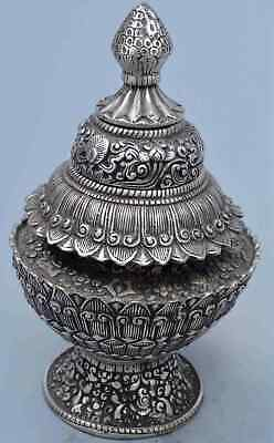 China Handwork Collectable Decor Miao Silver Carve Flower Auspicious Rare Statue