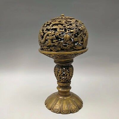 Chinese Antique Brass hollow double dragon Incense burner
