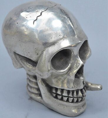 China Handwork Collectable Miao SIlver Carve Smoking Skull Head Summon Statue