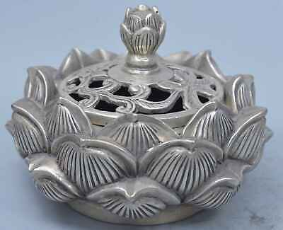 China Handwork Collectable Old Miao Silver Carve Lotus Auspicious Incense Burner