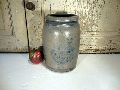 AAFA PA Striper Stoneware Pottery Jar Antique Blue Decorated Canning Jar