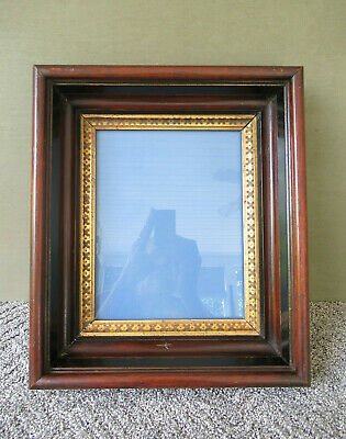 Antique Frame, Victorian Shadow Box Walnut Wood Glass Front, Wood Back Gold Gilt