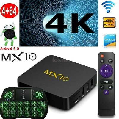 MX10 Android9.0 TV BOX Quad Core RK3328 4GB+32/64GB 4K WiFi Media+Tastiera Z2K8