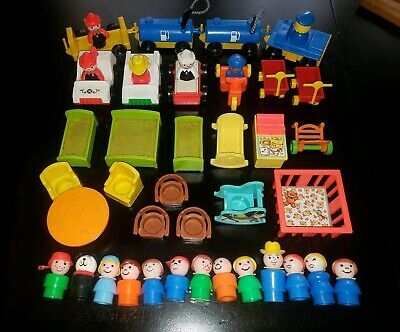 43 Piece Lot of Vintage Fisher Price Little People Vehicles Furniture