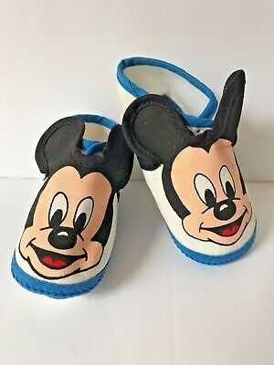 Infant Vintage Mickey Mouse Slippers with 3D Ears and Button Clasp