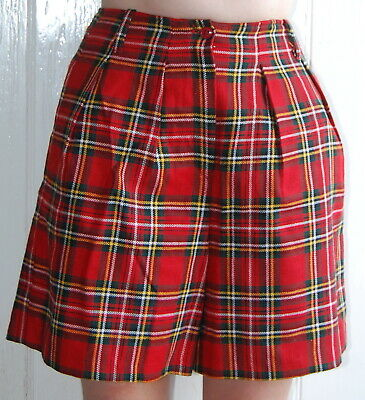 Ladies, Girls, Red, Tartan, Retro, Casual, Party, Shorts, size 8-10 (38), 13-14y