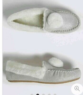 MARKS AND SPENCER Kids' Moccasin Slippers 11 EUR 29 SILVER SPARKLES BNWT PRETTY