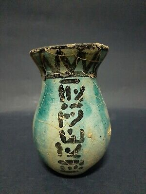Very Rare Ancient Egyptian Antiques Vessel Pharonic Stone Art Vase Faience