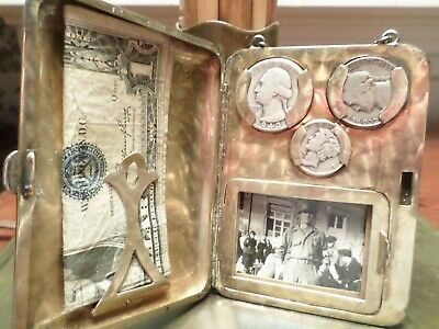 Antique Art Deco Sterling Silver Hallmarked Coin Purse Compact 1930-1940's  132g