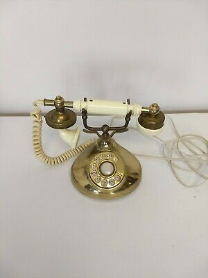 Vintage Rotary Dial Desk Phone French Style Gold Radio Shack 1978 Tandy Corp