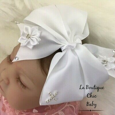 Baby Girl Christening/Baptism Headband White Satin Flowergirl Wedding Photo Prop