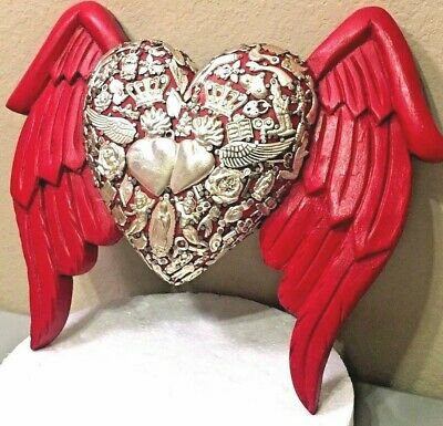 Mexican Milagros Sacred Red Heart Angel Wings Wood Wall Plaque Ex Voto Folk Art