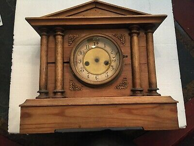 "Antique   Mantel Clock CASE ONLY  with face and gong 13"" wide 12"" tall 5"" deep"
