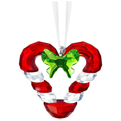 Swarovski Crystal Christmas Ornament Twisted Candy Cane Heart BNIB 5403314