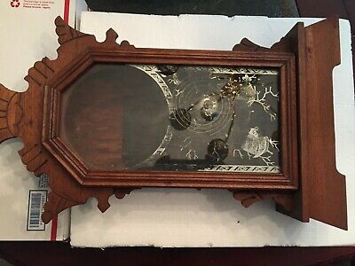 Antique   walnut Clock CASE ONLY  victorian era glass in door and chime