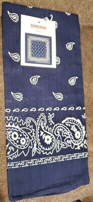 "22"" Bandana 100% Cotton - Classic Blue Paisley - Biker Headwrap Dog/Cat Scarf"