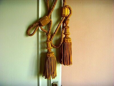 Used - Set Two Pick up Curtains Tassels and Cord Antique - Item for Collectors