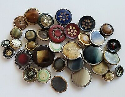 Lot of 30 Vintage-Antique Celluloid Mounted in Metal Buttons Up for bids is this