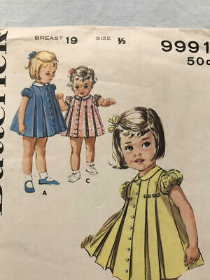 Vtg BUTTERICK 9991 CHILD GIRL Pattern Sewing 60s CUT Pleated Dress Sz 1/2 6 mos.
