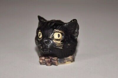 """Antique Celluloid Cat Head Figural Tape Measure -Bow Tie Pull - German -1-1/2""""T."""