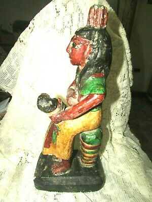 "Rare Pharaonic Statue, Ancient Egyptian Wood Carvings & ‬‏Enamel. ""HOLD A TOT"""