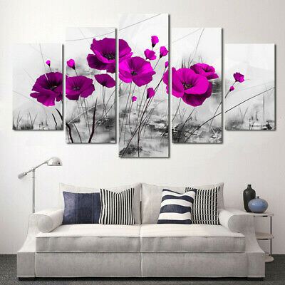 5 Pcs Abstract Flower Canvas Print Art Painting Wall Picture Modern Home Decor