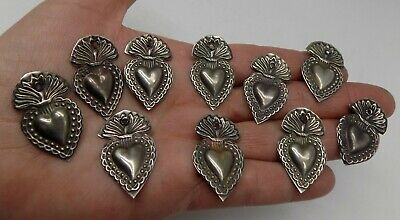 ANTIQUE LOT OLD 10 Sacred Heart Jesus Ex Voto MIRACLE MILAGRO SILVERED X-6
