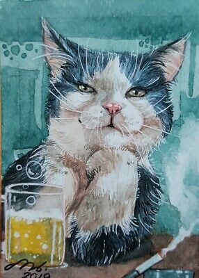 Original ACEO Watercolor Painting Art HBD Gift Card Cat Beer Drink