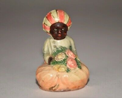 """Antique Celluloid Indian Boy Figural Tape Measure  - German -3""""T -Full Tape"""
