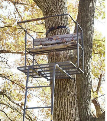 2 Man LadderTree Stand 17.5' Treestand Deer Hog Game Hunting Stand Portable 99lb