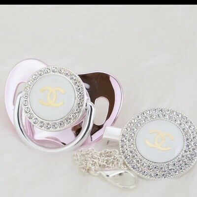 Romany Metallic Pink Bling Soother Dummy Charm Baby Shower Gift Christening 💕